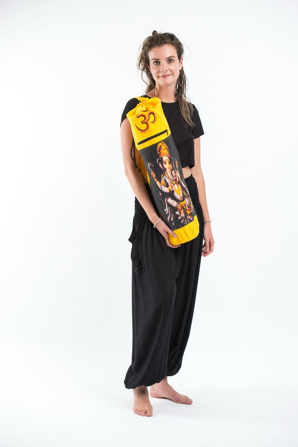 Yellow Embroidered Ohm + Ganesha Print Cotton & Hemp Yoga Mat Bag