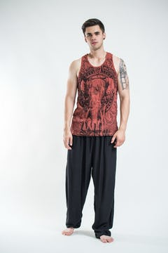 Mens Infinitee Om Tank Top in Brick