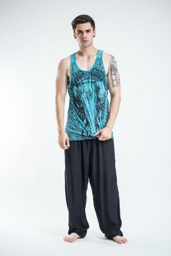 Sure Design Mens Wild Elephant Tank Top Turquoise