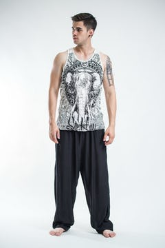 Sure Design Mens Tattoo Ganesh Tank Top Grey