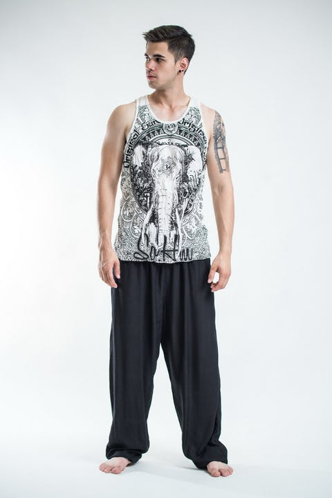 Sure Design Mens Wild Elephant Tank Top White
