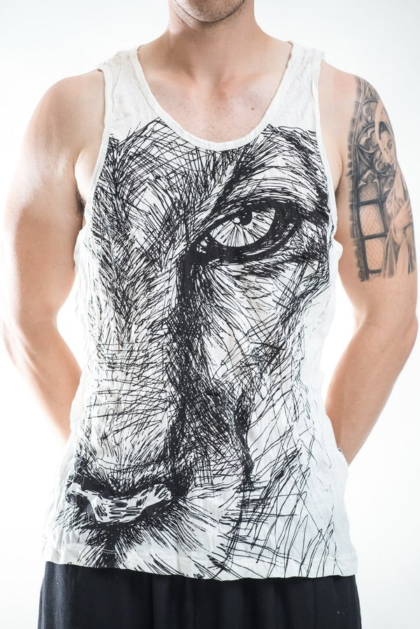 Sure Design Mens Lions Eye Tank Top White