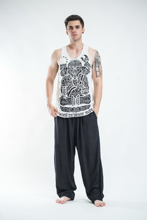 Sure Design Mens Tattoo Ganesh Tank Top White