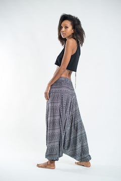 Drawstring Low Cut Harem Pants Cotton Spandex Printed Sun Gray