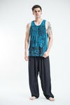 Sure Design Mens Buddha Sanskrit Tank Top Denim Blue