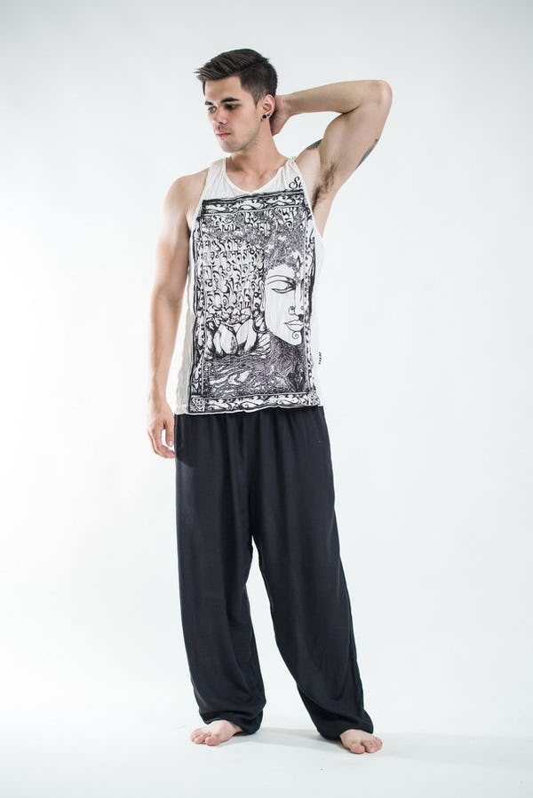 Mens Buddha Sanskrit Tank Top in White