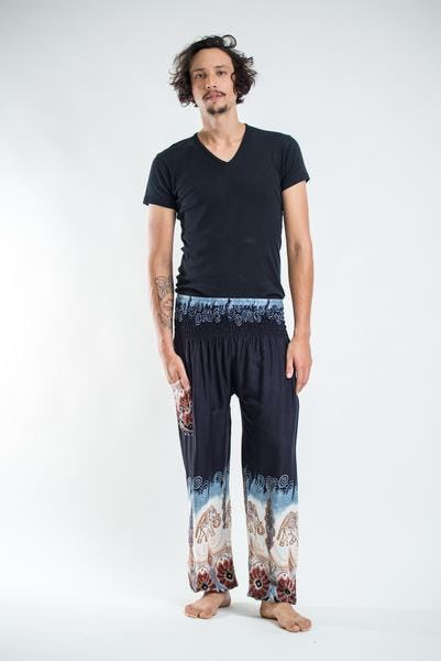 Solid Top Elephant Unisex Harem Pants in Black