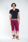 Solid Top Elephant Unisex Harem Pants in Magenta