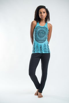 Sure Design Womens Tree of Life Tank Top Turquoise