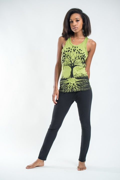 Womens Tree of Life Tank Top in Lime