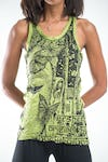 Sure Design Womens Butterfly Buddha Tank Top Lime