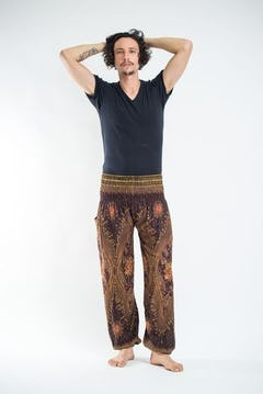 Pinstripe Cotton Low Cut Harem Pants With Hill Tribe Trim Brown