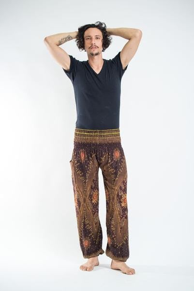 Peacock Eye Unisex Harem Pants in Brown