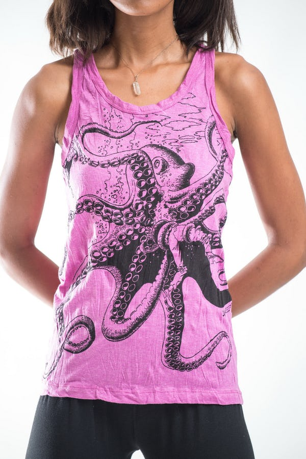 Womens Octopus Tank Top in Pink