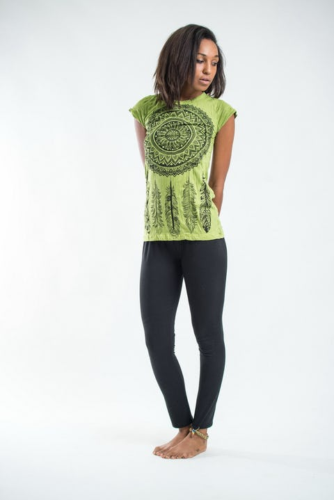 Womens Dreamcatcher T-Shirt in Lime