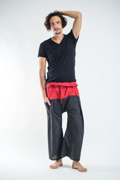 Unisex 2-Tone Pin Stripes Thai Fisherman Pants in Black Red