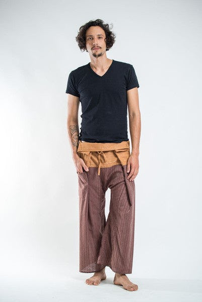 Unisex 2-Tone Pin Stripes Thai Fisherman Pants in Brown