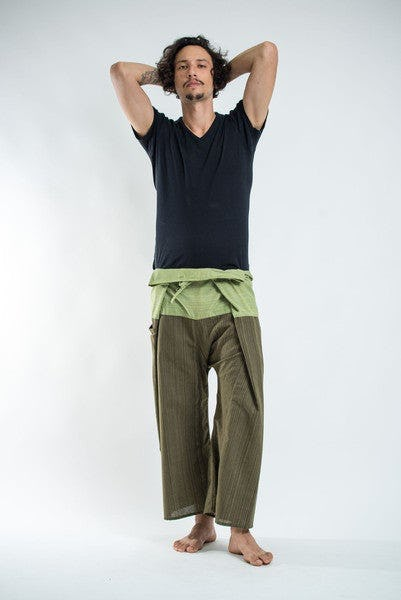 Unisex 2-Tone Pin Stripes Thai Fisherman Pants in Green