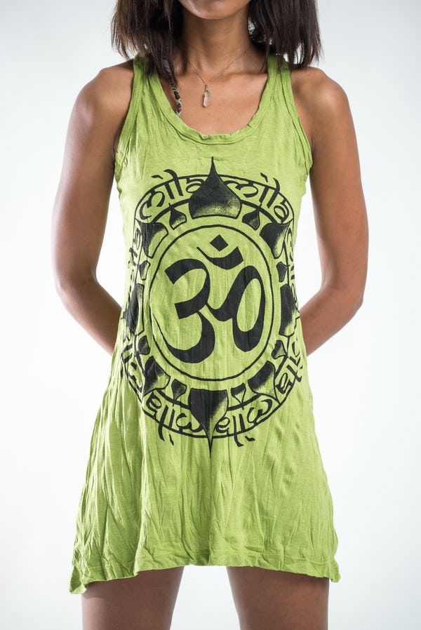Sure Design Womens Infinitee Ohm Tank Dress Lime