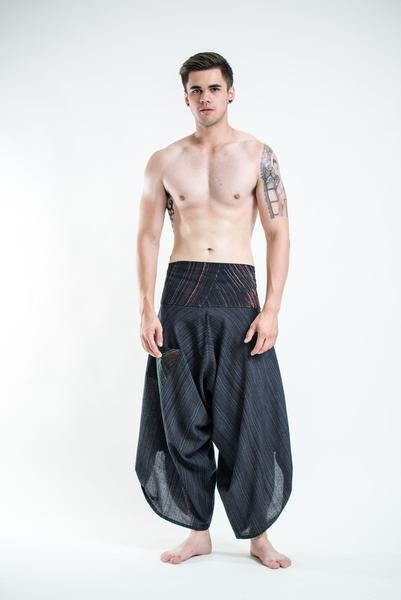 Pinstripe Button Up Cotton Pants with Hill Tribe Trim Black