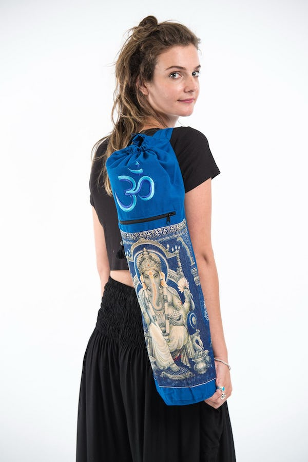 Ganesh Om Yoga Mat Bag in Blue