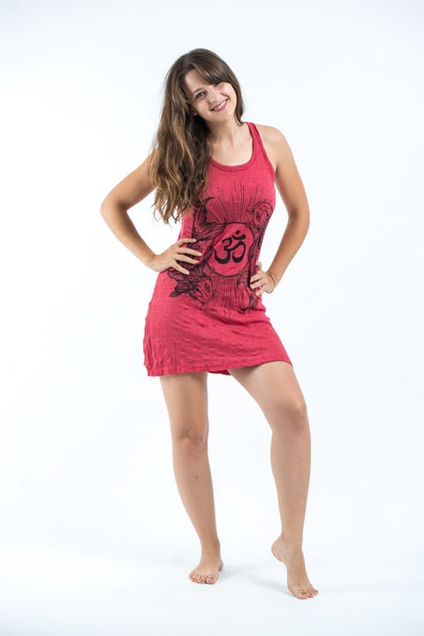 Sure Design Womens Ohm and Koi fish Tank Dress Red