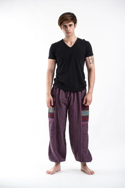 Drawstring Pinstripes Cotton Pants with Aztec Pocket in Purple
