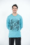 Sure Design Unisex Ohm and Koi Fish Long Sleeve Shirt Turquoise