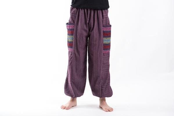 Unisex Pinstripe Cotton Pants with Aztec Pocket in Purple