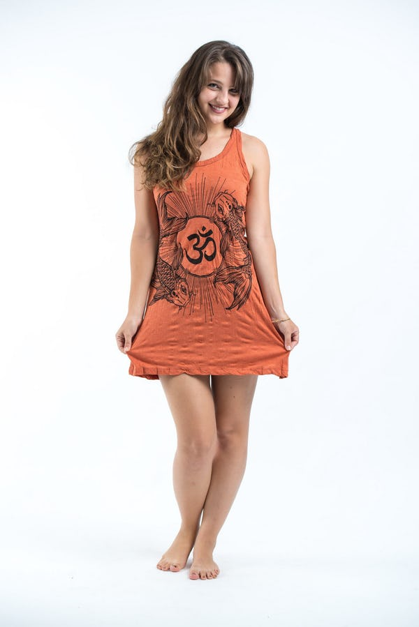 Sure Design Womens Ohm and Koi Fish Tank Dress Orange