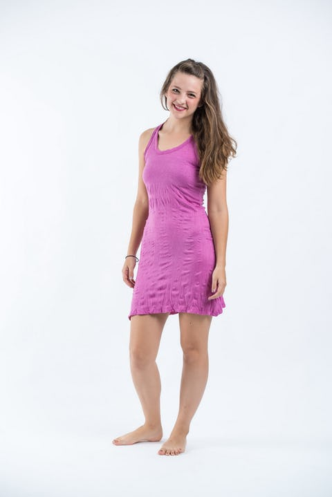 Sure Design Womens Solid Tank Dress Pink
