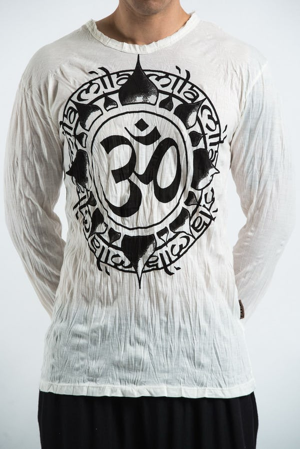 Unisex Infinitee Om Long Sleeve T-Shirt in White