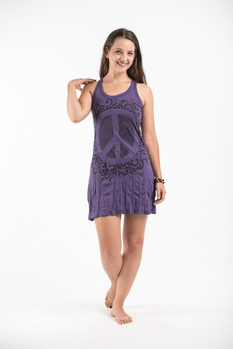 Sure Design Womens Peace Tank Dress Purple