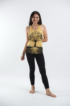 Sure Design Womens Tree Of Life Tank Top Gold on Black