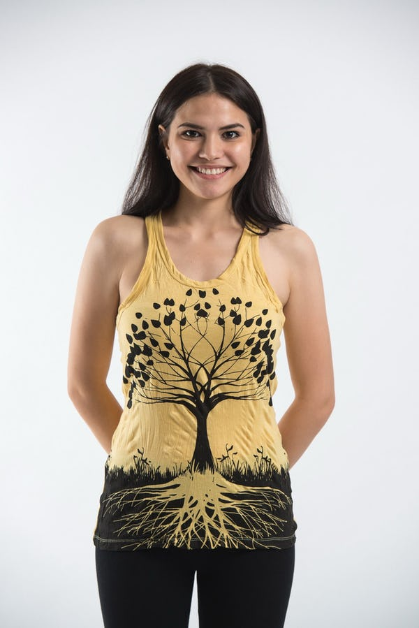 Sure Design Womens Tree of Life Tank Top Yellow