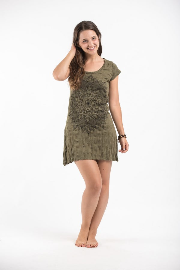 Womens Lotus Mandala Dress in Green
