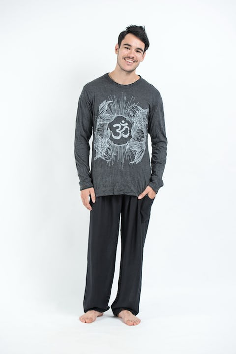 Sure Design Unisex Ohm and Koi Fish Long Sleeve Shirt Silver on Black