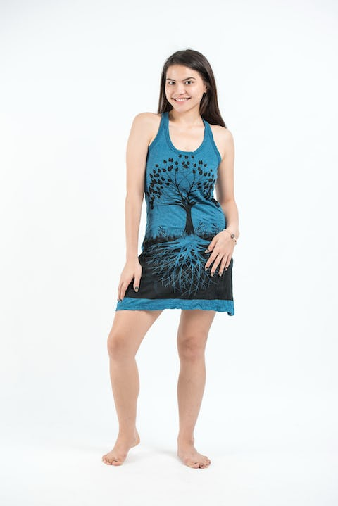 Sure Design Womens Tree Of Life Tank Dress Denim Blue