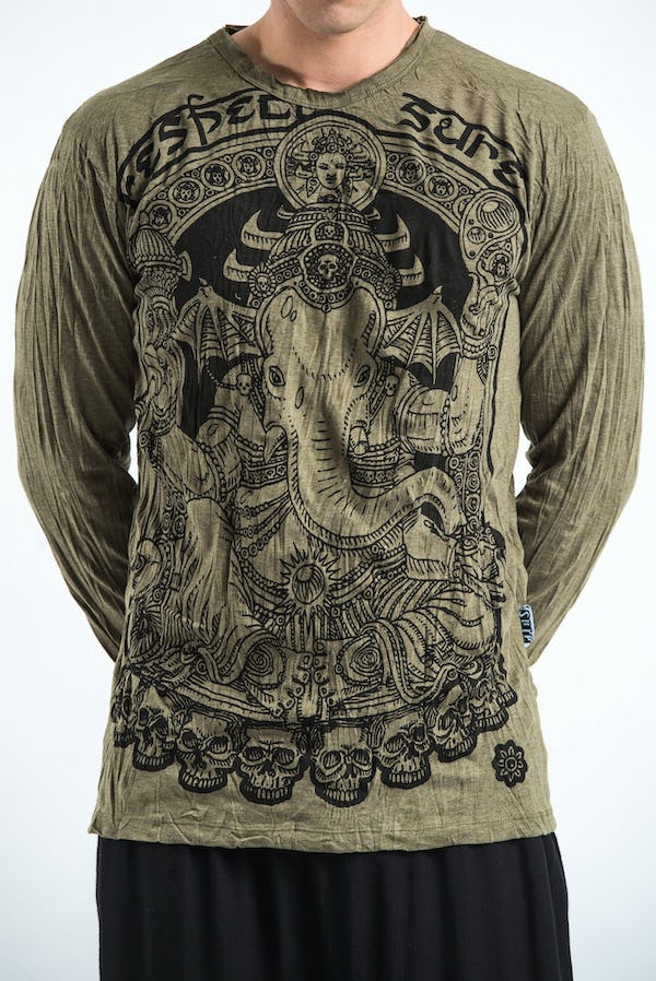 Sure Design Unisex Batman Ganesh Long Sleeve Shirt Green