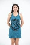 Womens Infinitee Om Tank Dress in Denim Blue