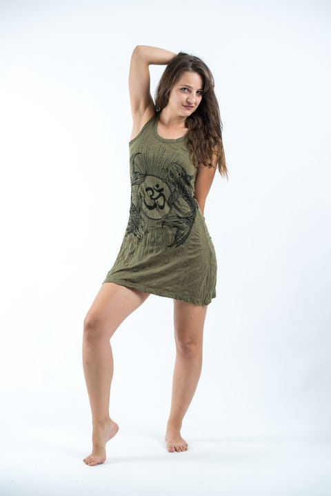 Womens Om and Koi Fish Tank Dress in Green