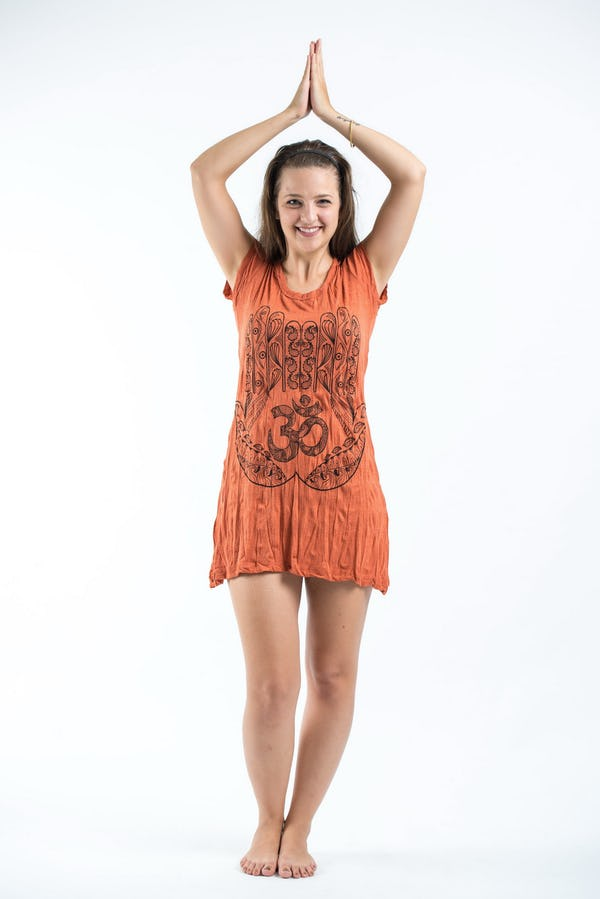 Womens Om hands Dress in Orange