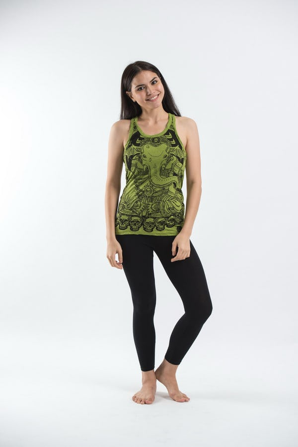 Sure Design Womens Batman Ganesh Tank Top Lime