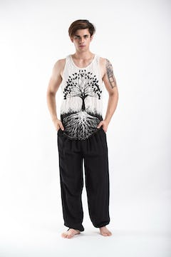 Unisex White Thai Silk Fisherman Pants
