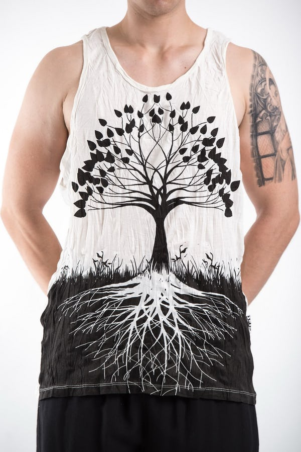 Sure Design Mens Tree Of Life Tank Top White