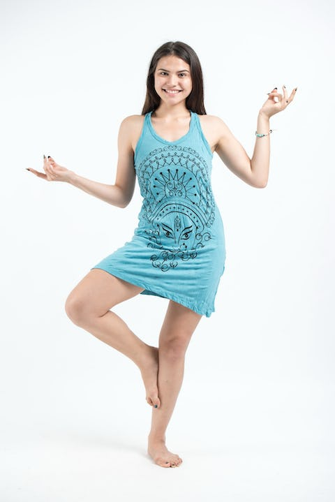 Sure Design Womens Durga Tank Dress Turquoise