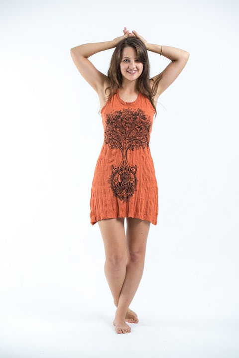 Sure Design Womens Celtic Tree Tank Dress Orange
