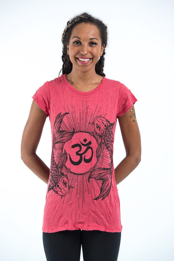 Sure Design Womens Ohm and Koi Fish T-Shirt Red