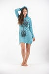 Womens Celtic Tree Hoodie Dress in Turquoise