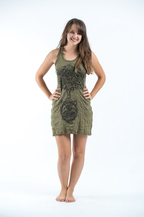 Sure Design Womens Celtic Tree Tank Dress Green